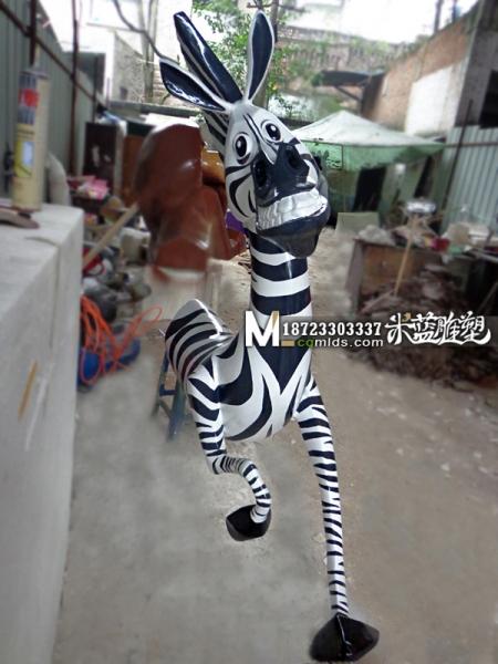 昆明玻璃钢雕塑卡通动物斑马