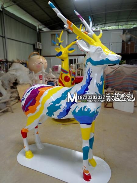 重庆玻璃钢雕塑彩绘鹿子