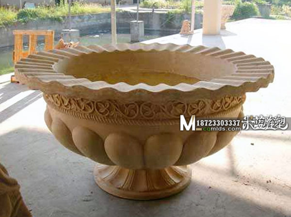 重庆砂岩雕塑花盆花钵