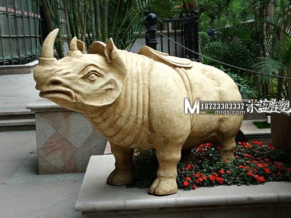 重庆石雕景观雕塑动物犀牛